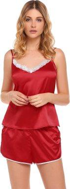 Ekouaer Womens Sexy Lingerie Sleepwear Pajamas Set Spaghetti Strap Shorts PJS Set S-XXL Red