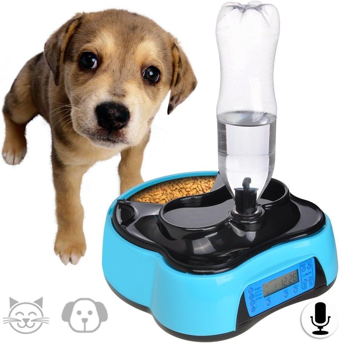 Iseebiz Comedero Automatico Perro 1.6L Alimentador Automatico Gatos con Dispositivo Bebedero Grabación de Voz y Temporizador