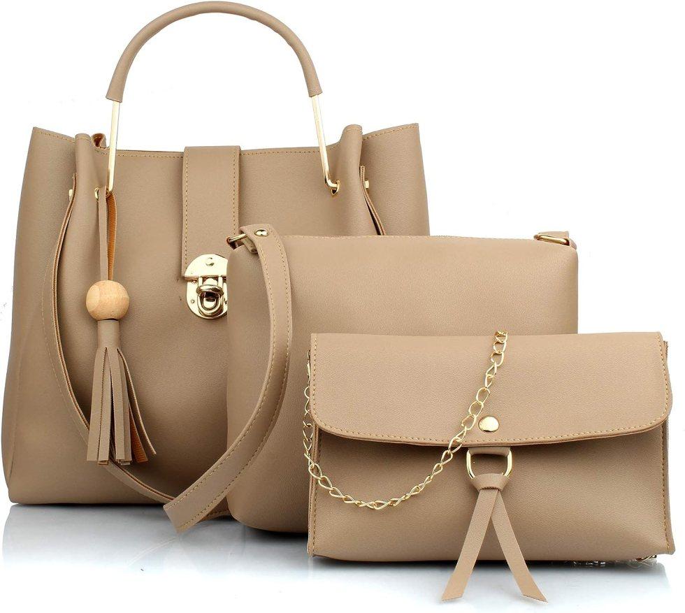 Mammon Women's PU Leather Handbag Combo (3L-bib-Cream)