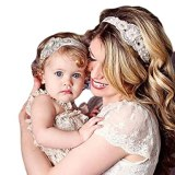 Baishitop Paternity Mom and Baby Girls Headband, Rhinestone Bead Retro Lace Hairband
