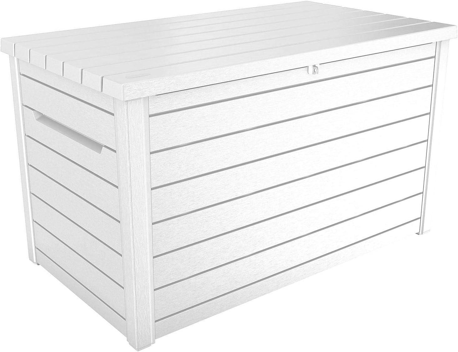 Amazon Com Keter Xxl 230 Gallon Deck Storage Box Outdoor Patio Container White Garden Outdoor