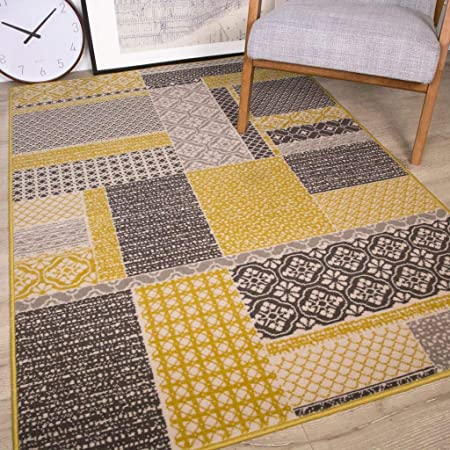 Milan Ochre Mustard Yellow Grey Beige Patchwork Squares Traditional Living Room Rug 80cm X 150cm Amazon Co Uk Kitchen Home