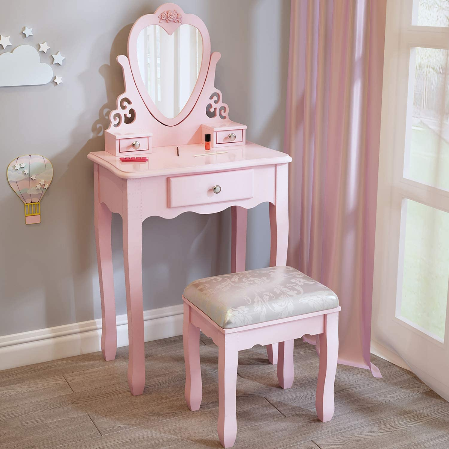 J Jeffordoutlet Pink Girls Dressing Table Little Vanity Table For 3 4 5 6 7 8 Years Old Kid Girl European Princess Style Dressing Table Amazon Co Uk Kitchen Home