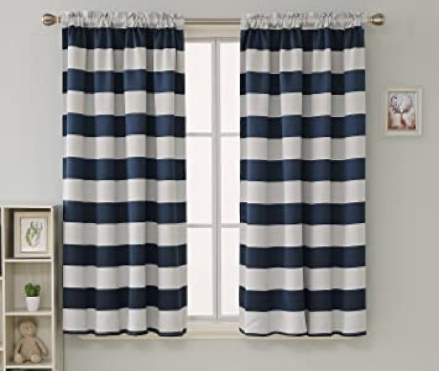 Amazon Com Deconovo Navy Blue Striped Room Darkening Curtains Rod