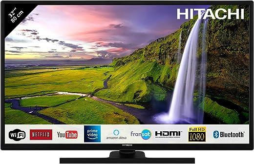 """Hitachi Téléviseur LED 32"""" 80,01cm Full HD avec Alexa/Smart TV: Netflix, Youtube, Prime/WiFi/Bluetooth / 3 HDMI/PC/USB"""