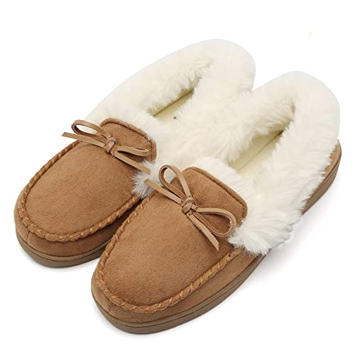 Fanture Women's House Slippers Moccasins Slip On Micro Suede Faux Fur Lined Indoor & Outdoor-U418WMT009-tan-40