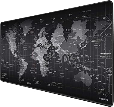 Amazon Com Jialong Gaming Mouse Pad Large Size 35 4 X 15 7x 0 12inches Desk Mousepad With Personalized Design For Gaming And Office Black World Map Computers Accessories