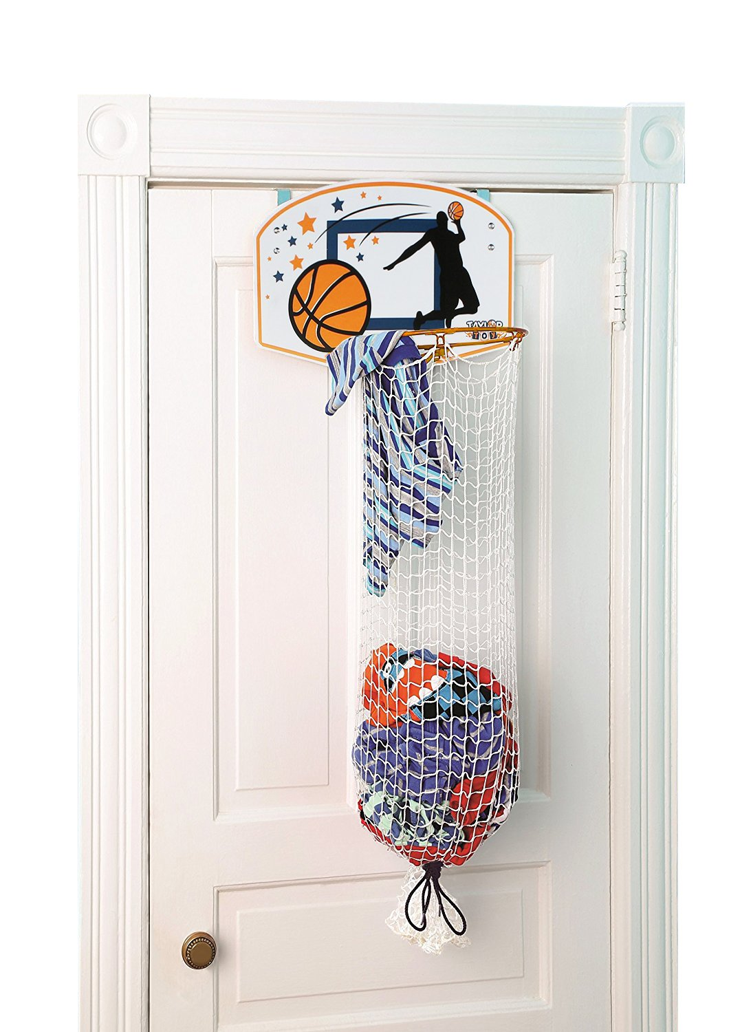 Taylor Toy Over The Door Basketball Clothes Hamper helps make a boring chore fun! Now your kids will want to pick up their dirty laundry! Convenient Storage: hooks on backboard allow it to be easily hung on door.
