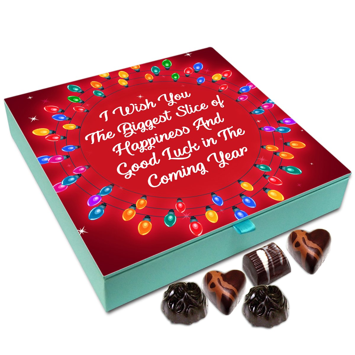 Chocholik New Year Chocolate Box – I Wish You Biggest Slice of Happiness On New Year Chocolate Box – 9pc