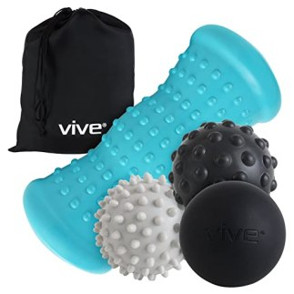 Massage Ball Set by Vive - Hot Cold Therapy Kit for Plantar Fasciitis Heel Pain, Sore Muscles, Trigger Point, Myofascial Release, Heel Spur - Heat Spike Ball Massager (5 Pieces) Bag Included