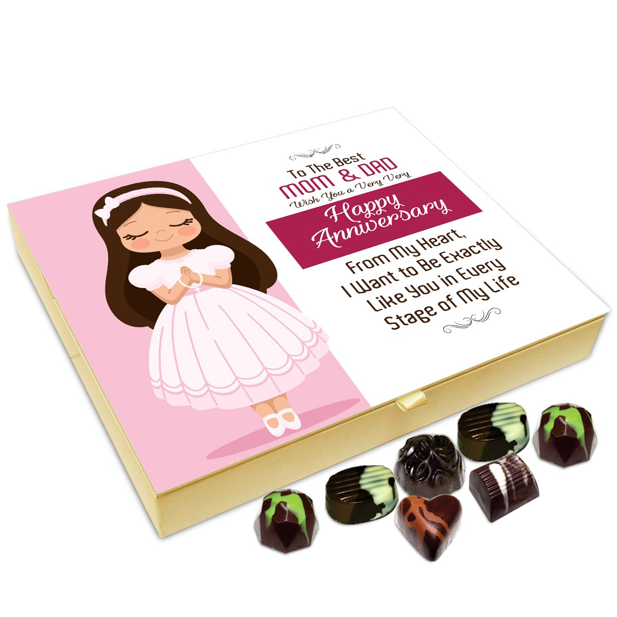 Chocholik Anniversary Gift Box – to The Best Mom and dad, Wish You A Very Happy Anniversary Chocolate Box – 20pc