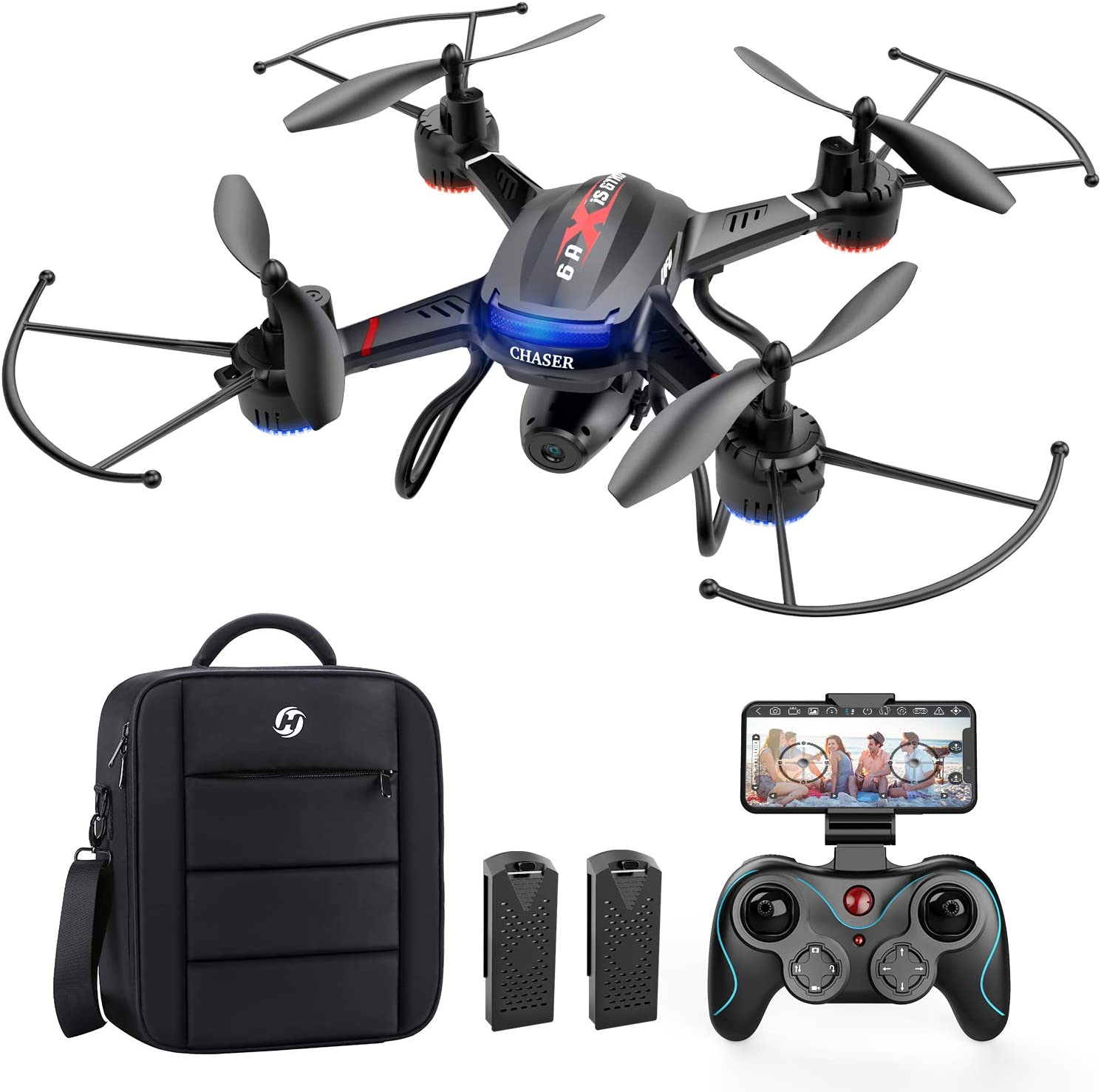 Holy Stone F181W 1080P FPV Drone with HD Camera for Adult Kid Beginner, RC Quadcopter with Carrying Case, Voice Control, Gesture Control, Wide-Angle Live Video, Altitude Hold, 2 Batteries, Easy to Fly