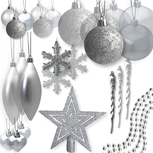 Amazon Com Banberry Designs Shatterproof Christmas Ornaments Assorted Set Of 75 Silver Xmas Tree Decorations Star Tree Topper Silver Beaded Garland Silver Ball Ornaments Home Kitchen