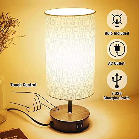 3 Way Touch Control Dimmable Table Lamp Modern Bedside Nightstand Lamps With 2 Usb Charging Ports Fabric Round Lampshade 100w Equivalent Vintage Led Bulb Included Round Lampshade For Bedroom Livin Amazon Com