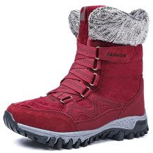 MAIZUN Womens Winter Snow Boots Warm Fur Lined Ankle Boots Anti-Slip Outdoor Slip On Hiking Shoes