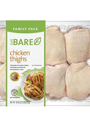 Just BARE Chicken, Thighs (Family Pack), 2.25 lb