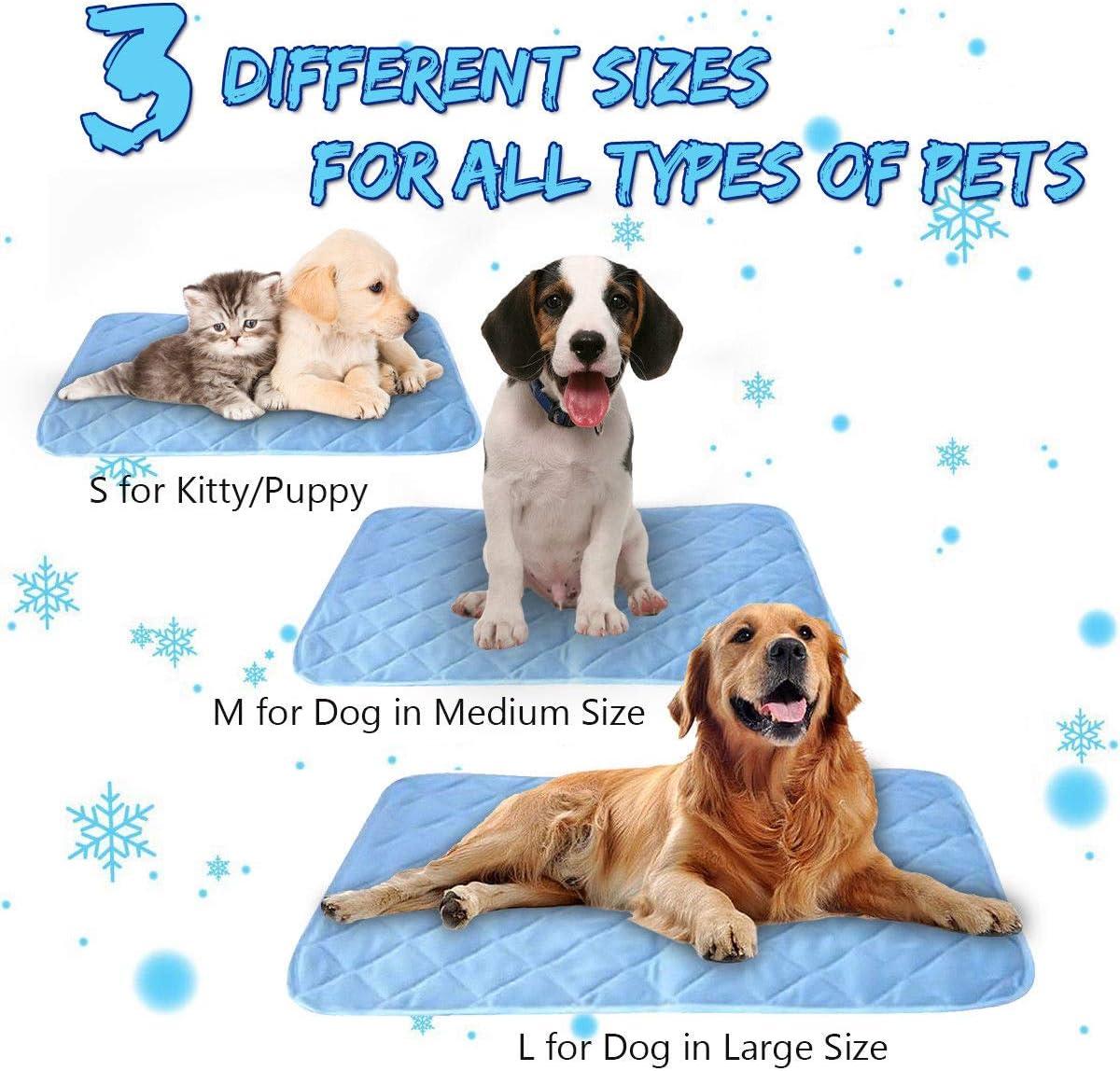 ForUUU Alfombrilla de Refrigeración Animales, Manta para Perros Fria Alfombra Refrescante para Mascotas Animales Manta de Dormir Fresco Cojín Azul (L: 27 * 18 in (90 * 60 cm))