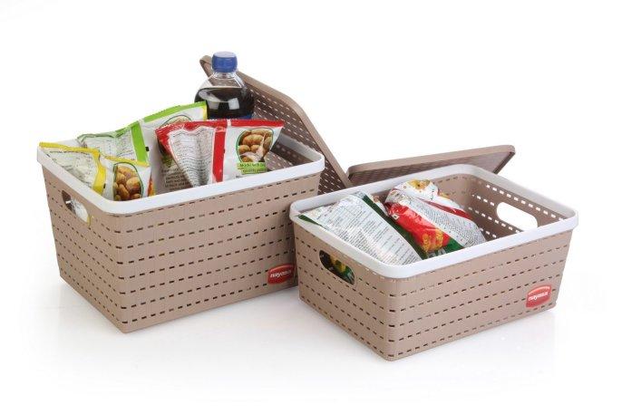Nayasa Gloria 2 Piece Plastic Basket, Big1, Medium 1, Beige