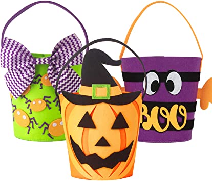 Art Beauty Halloween Trick Or Treat Bags Sweet Bucket Set Of 3 Felt Goody Baskets For Kids Toddlers Boys Girls Amazon Co Uk Toys Games