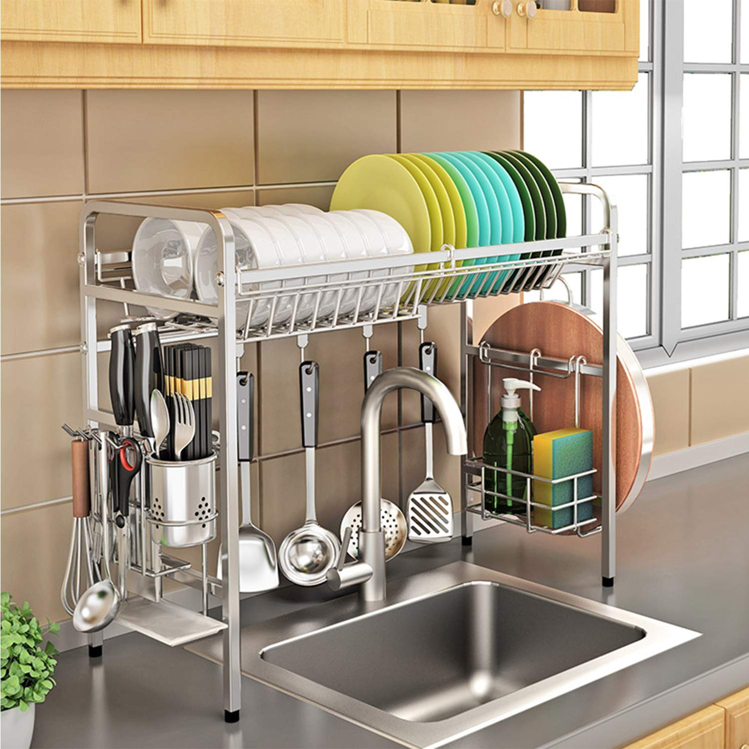 Buy Kurtzy 304 Stainless Steel Over The Sink Rack For Kitchen Dish Drainer Storage And Utensils Holder Dish Drying Rack Space Save Organizer Online At Low Prices In India Amazon In