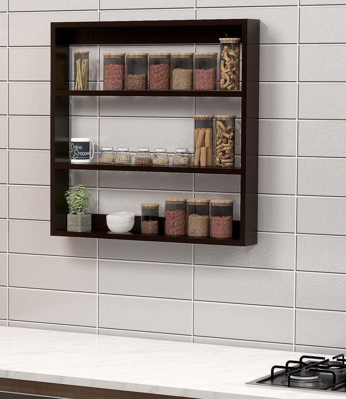 Onlineshoppee Big Wooden Kitchen Wall Shelf Rack Multi Function Shelf Storage Racking Kitchen Organizer Kitchen Storage Unit Amazon In Home Kitchen