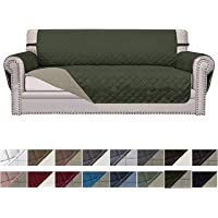 Easy-Going Sofa Slipcover Reversible Sofa Cover Water Resistant Couch Cover Furniture Protector with Elastic Straps for Pets Kids Children Dog Cat(Sofa, Army Green/Beige)