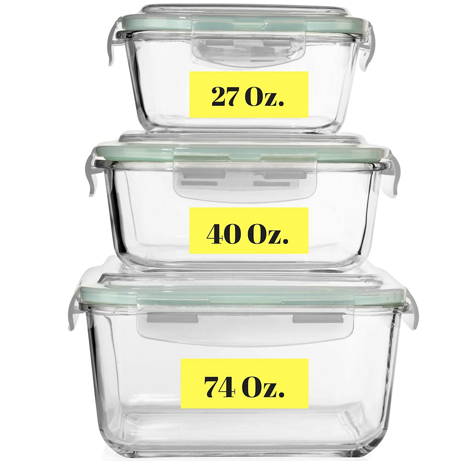Extra Large Glass Food Storage Containers With Airtight Lid  Containers With Lids Microwave Oven Freezer Dishwasher Safe