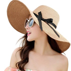 Womens Straw Hat Wide Brim Floppy Beach Cap Adjustable Sun Hat for Women UPF 50+ (Bowknot&Khaki)