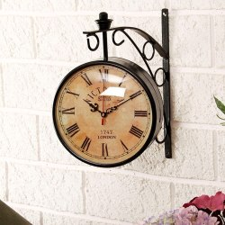 Efinito Vintage Antique Black Station Double Sided Wall Clock