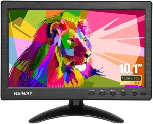 Haiway 10.1 inch Security Monitor, 1366×768 Resolution Small TV Portable Monitor with Remote Control with Built-in Dual Speakers HDMI VGA BNC Input for Gaming CCTV Raspberry Pi PC