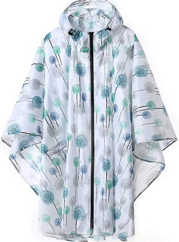 Packable poncho women's plus size raincoats with hood