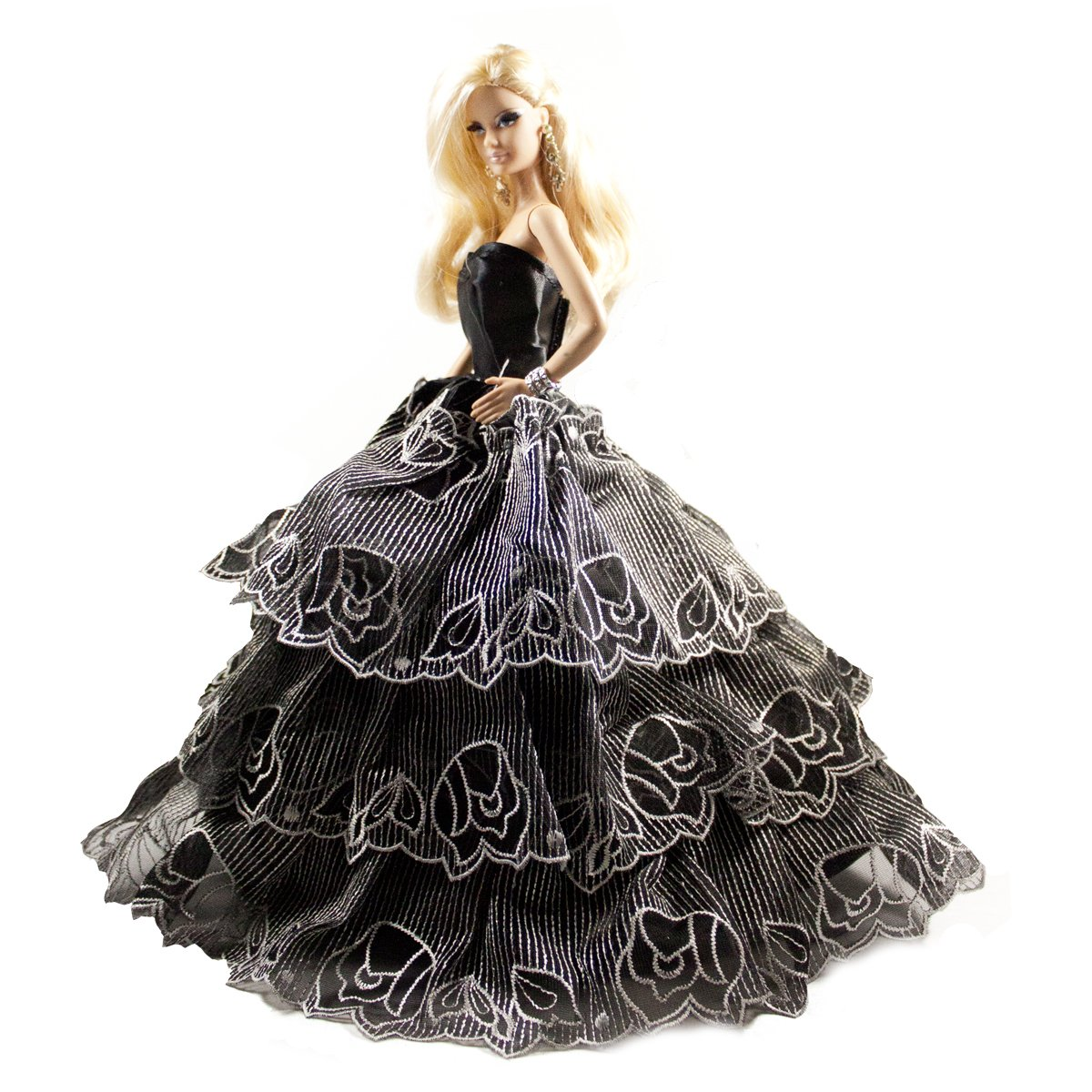 Barbie Sweetheart Neckline Ball Gown Strapless Layered Black Prom Gown Dress