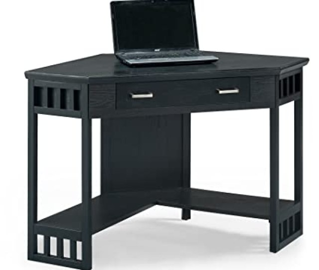 Amazon Com Leick Corner Computer And Writing Desk Black Finish Kitchen Dining
