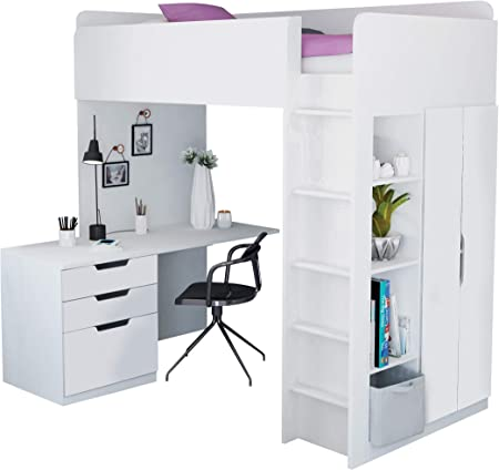 Kids High Sleeper Loft Bed Storage Bundle Wardrobe Desk Bookcase Amazon Co Uk Kitchen Home