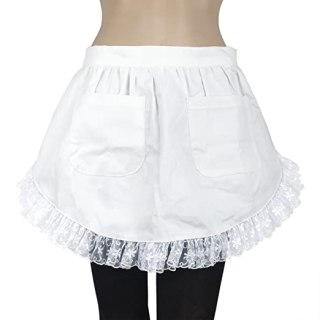 Aspire Women's Waist Apron Victorian Maid Costume-White-M