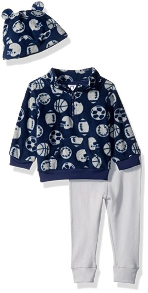 Gerber Baby Boy 3 Piece Micro Fleece Top, Pant and Cap Set, sports, 6-9 Months