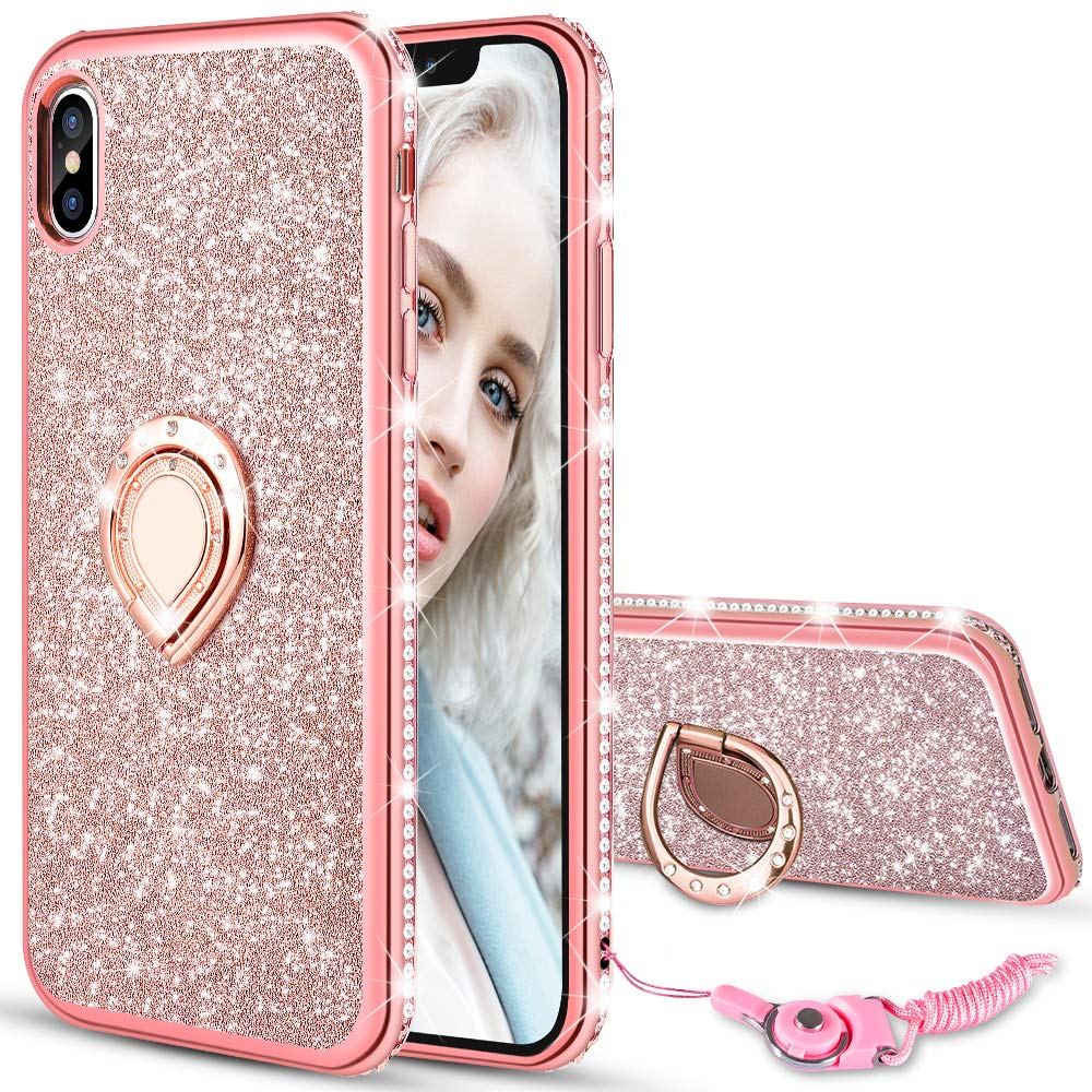Maxdara Case For Iphone Xs Max Glitter Case Ring Grip Holder Kickstand With Bling Sparkle Diamond Rhinestone Protective Bumper Luxury Pretty Fashion