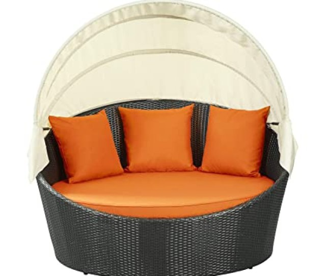 Amazon Com Modway Siesta Outdoor Wicker Patio Espresso Canopy Bed With Orange Patio Sofas Garden Outdoor