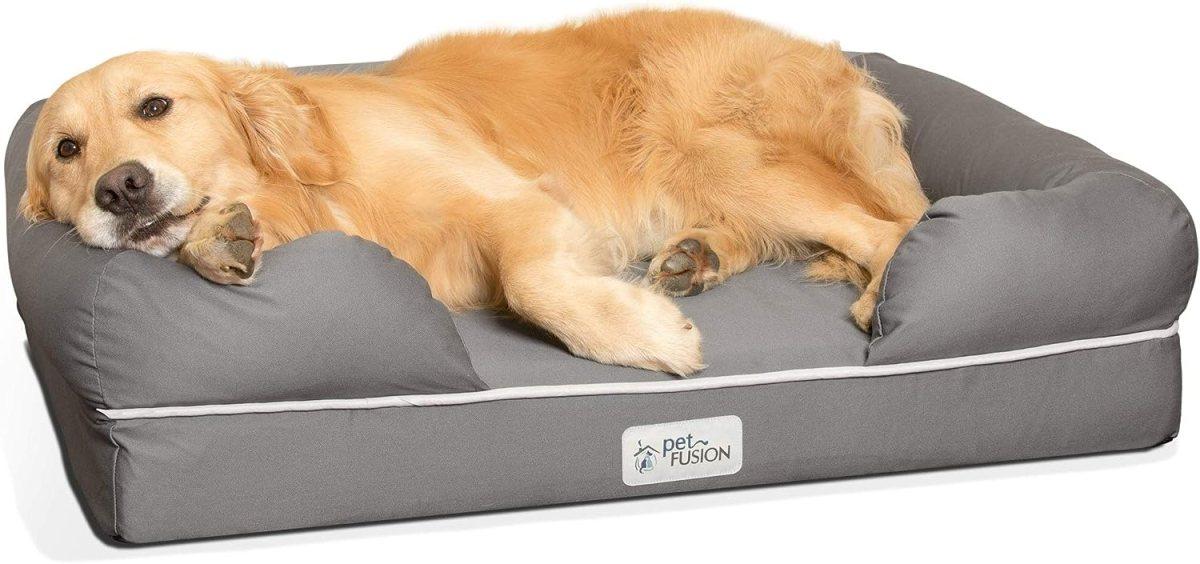 Cama de espuma viscoelástica para perros medianos y grandes, Gris (Large Bed), 91 x 71 x 22 cm