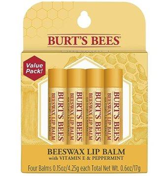 Burt's Bees 100% Natural Moisturizing Lip Balm, Original Beeswax with Vitamin E & Peppermint Oil - 4 Tubes