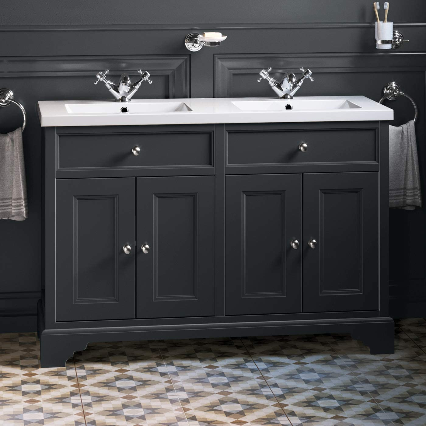 1200mm Loxley Charcoal Double Sink Vanity Unit Floor Standing Amazon Co Uk Kitchen Home