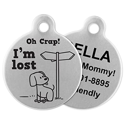 Image result for If It Barks Engraved Pet ID Tags For Dogs - Personalized Pet ID Name Tag Attachment - Made in USA, Stainless Steel Dog Tags