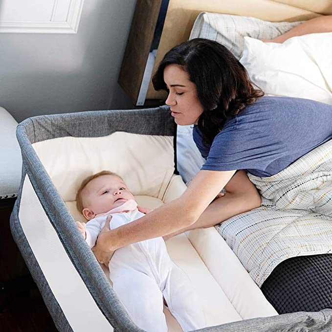 Mika Micky Bedside Sleeper Bedside Crib Easy Folding Portable Crib