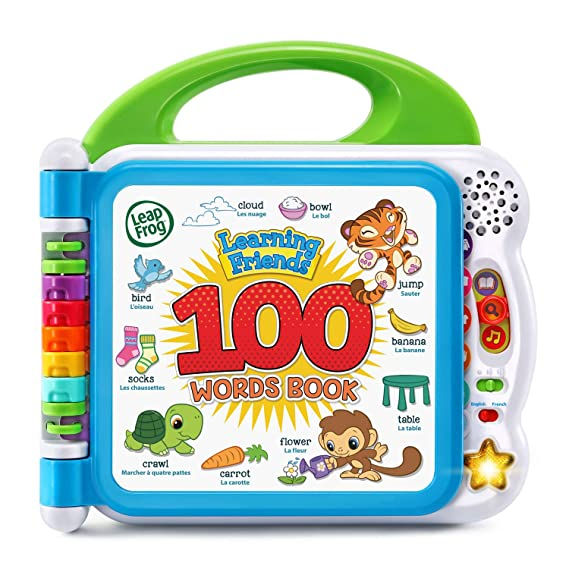 LeapFrog Learning Friends 100 Words Book™: Join animal friends Turtle, Tiger and Monkey as they explore new vocabulary in the Learning Friends 100 Words Book™. Explore the colorful pages and touch each picture to hear the animals say toddler-appropriate words along with exciting facts and sound effects.