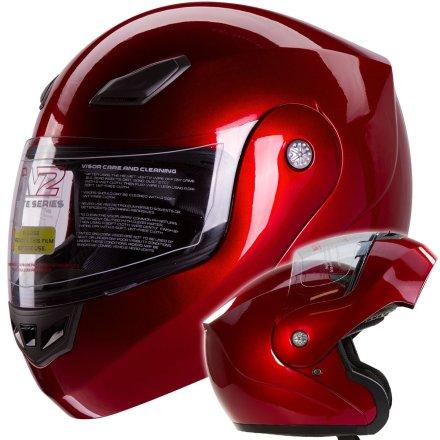 Metallic Wine Red Modular Flip up Motorcycle Helmet DOT