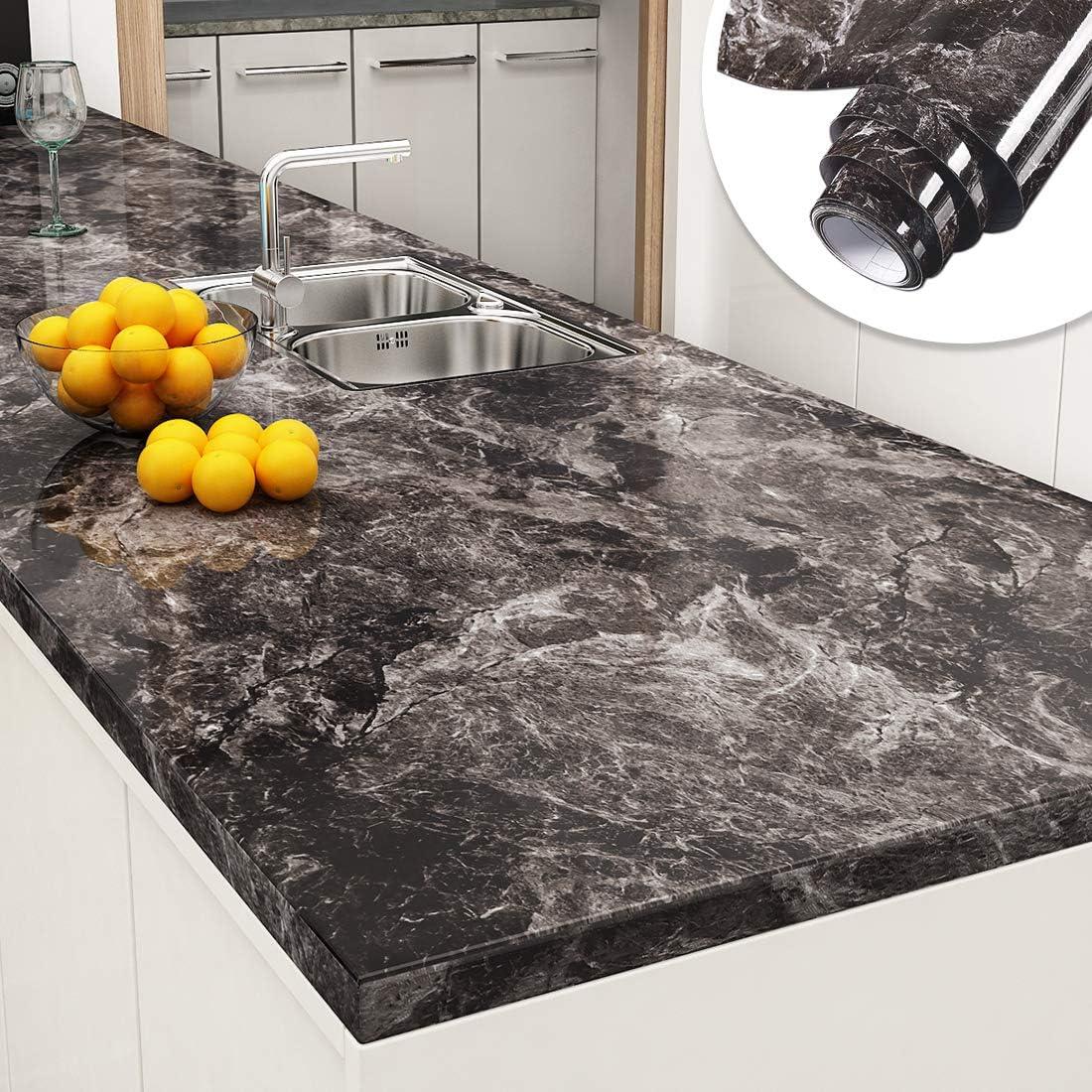 Yenhome Countertop Contact Paper 60cm x 5m Sandstone Black Granite ...