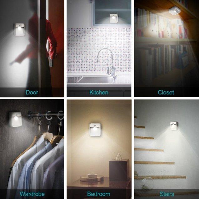 dodocool  LEDナイトライト明暗&人感センサー モーションセンサーLEDナイトライト 電池式壁掛けライト ホワイト 自動点灯 消灯 省エネ エコ 屋内 玄関 ガレージ、クローゼット 廊下用
