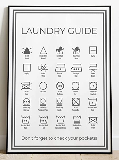 Ocmm Complete Laundry Symbols A3 Wall Poster Sign Utility Room Washing Fabric Care Guide Instructions Amazon Co Uk Kitchen Home