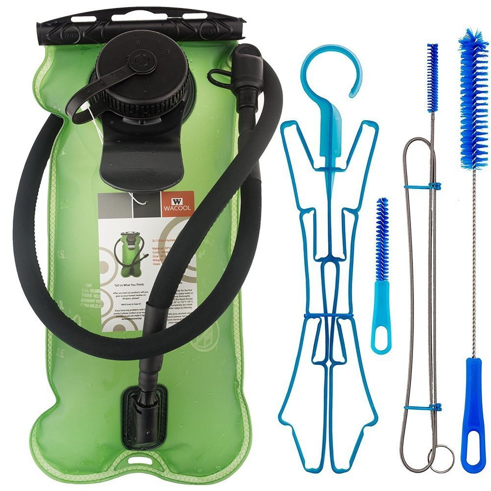 WACOOL 3L 3Liter 100oz BPA Free EVA Hydration Pack Bladder, Leakproof Water Reservoir (Green with Cleaning Kit)