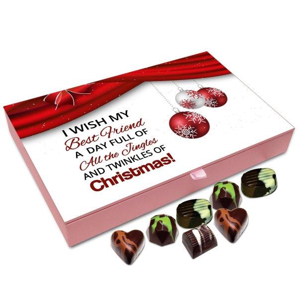 Chocholik Christmas Gift Box – I Wish My Best Friend A Very Happy Christmas Chocolate Box – 12pc